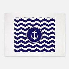 Nautical Anchor Chevron 5'x7'Area Rug
