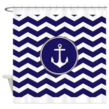 Nautical Anchor Chevron Shower Curtain
