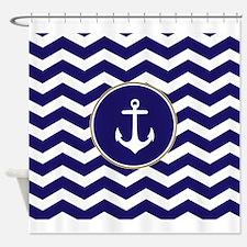 Nautical Anchor Chevron Shower Curtain