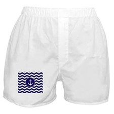 Nautical Anchor Chevron Boxer Shorts