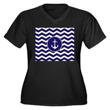 Nautical Anchor Chevron Plus Size T-Shirt