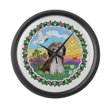 Wreath1-ShihTzu2-brown-white.png Large Wall Clock