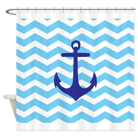 Light Blue Anchor Chevron Shower Curtain By Admin Cp49789583