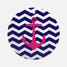 Hot pink anchor blue chevron Ornament (Round)