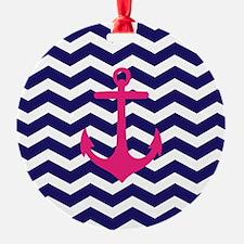 Hot pink anchor blue chevron Ornament