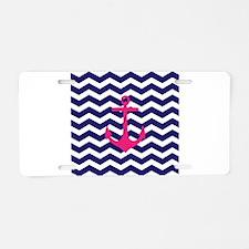 Hot pink anchor blue chevron Aluminum License Plat