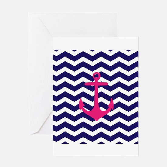 Hot pink anchor blue chevron Greeting Cards