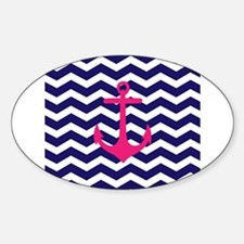 Hot pink anchor blue chevron Decal