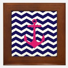Hot pink anchor blue chevron Framed Tile