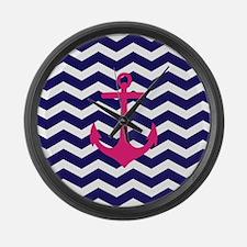 Hot pink anchor blue chevron Large Wall Clock