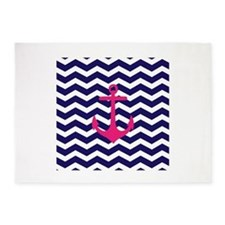 Hot pink anchor blue chevron 5'x7'Area Rug