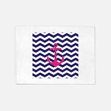 Hot pink anchor blue chevron 5'x7'Area Rug