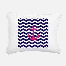 Hot pink anchor blue chevron Rectangular Canvas Pi