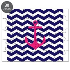 Hot pink anchor blue chevron Puzzle