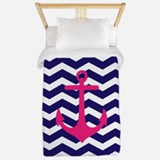 Hot pink anchor blue chevron Twin Duvet