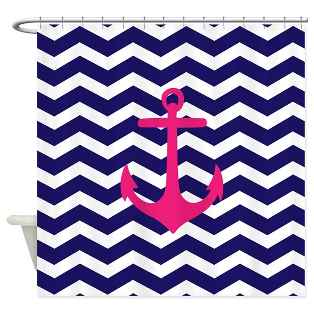 Chevron navy curtains