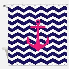 Hot pink anchor blue chevron Shower Curtain