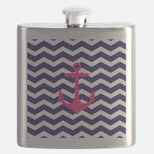 Hot pink anchor blue chevron Flask