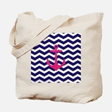 Hot pink anchor blue chevron Tote Bag