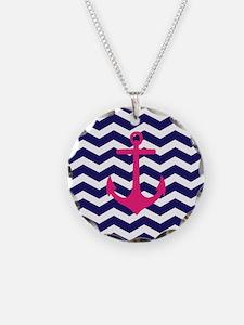 Hot pink anchor blue chevron Necklace