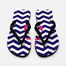 Hot pink anchor blue chevron Flip Flops