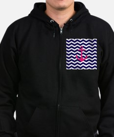 Hot pink anchor blue chevron Zip Hoody