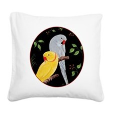 Indian Ringnecks Square Canvas Pillow