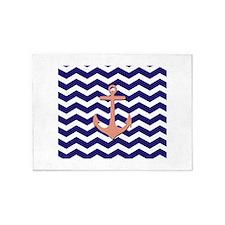 Pink anchor blue chevron 5'x7'Area Rug