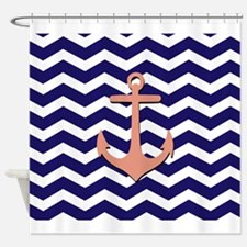 Pink anchor blue chevron Shower Curtain