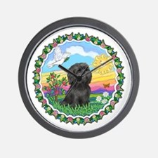 Wreath1-Black Shih Tzu.png Wall Clock