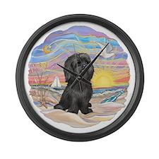 OceanSunrise-ShihTzu21-blk.png Large Wall Clock