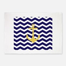 Yellow anchor blue chevron 5'x7'Area Rug