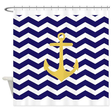 Yellow Anchor Blue Chevron Shower Curtain By Admin CP49789583