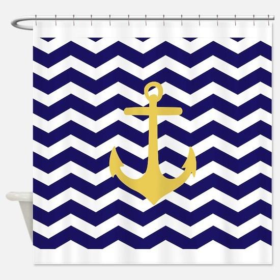 Yellow anchor blue chevron Shower Curtain