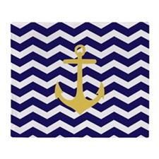 Yellow anchor blue chevron Throw Blanket