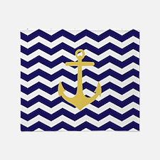 Yellow anchor blue chevron Throw Blanket