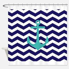 Blue Anchor Chevron Shower Curtain