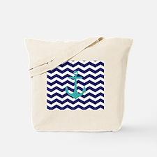 Blue Anchor Chevron Tote Bag
