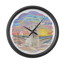 OceanSunrise-Westie 3L.png Large Wall Clock