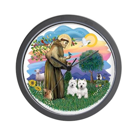 StFracnis-TwoWesties16.png Wall Clock