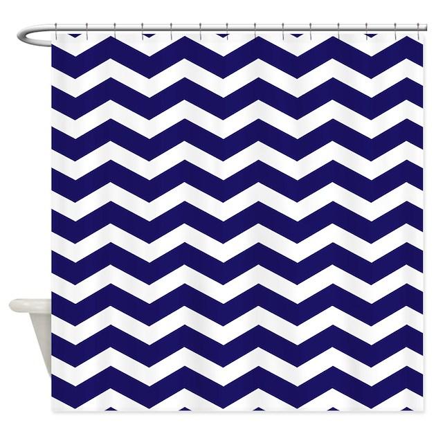 navy blue chevron shower curtain by admin cp49789583