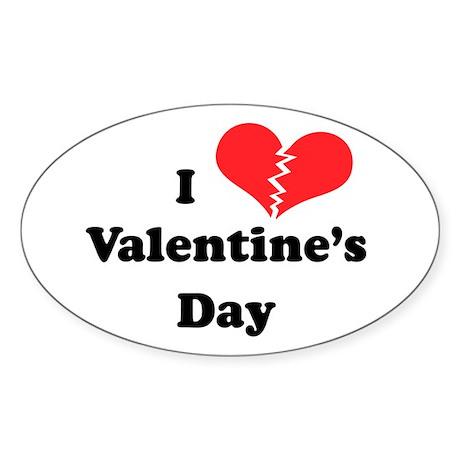 I Hate Valentine's Day Oval Sticker