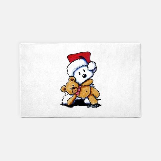 Christmas Teddy Bear Westie 3'x5' Area Rug