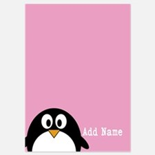 Cute Penguin Text Pink Invitations