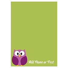 Modern Owl Name Green Invitations