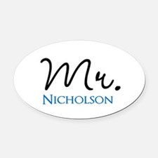 Customizable Mr and Mrs set - Mr Oval Car Magnet