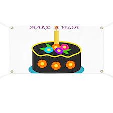 MAKE A WISH HAPPY BIRTHDAY CAKE Banner