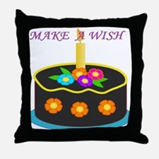 MAKE A WISH HAPPY BIRTHDAY CAKE Throw Pillow