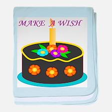 MAKE A WISH HAPPY BIRTHDAY CAKE baby blanket
