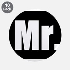 "Mr half of couples set - Black 3.5"" Button (10 pac"